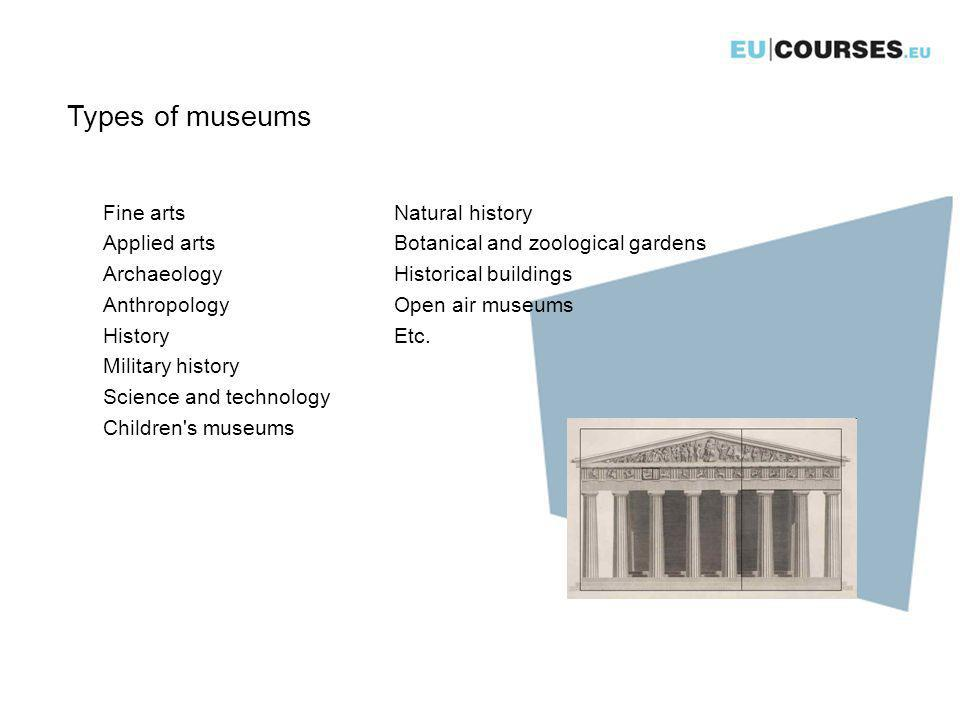 Types of museums Natural history Botanical and zoological gardens Historical buildings Open air museums Etc.
