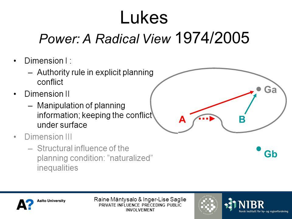 Raine Mäntysalo & Inger-Lise Saglie PRIVATE INFLUENCE PRECEDING PUBLIC INVOLVEMENT Lukes Power: A Radical View 1974/2005 Dimension I : –Authority rule