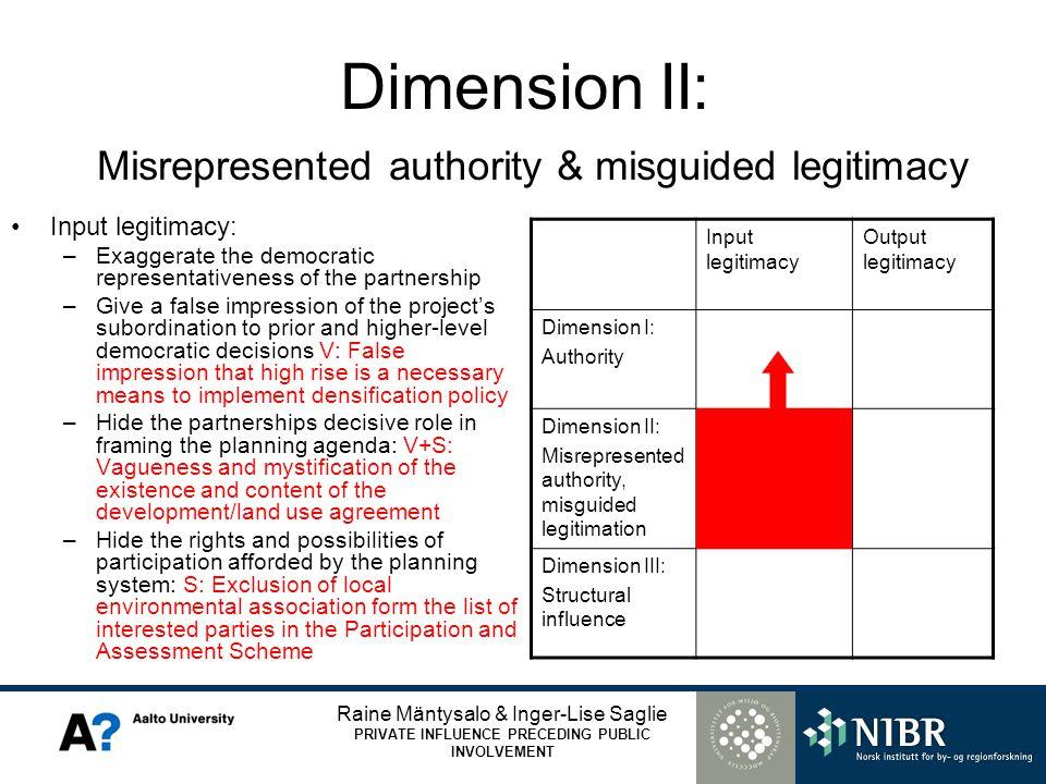 Raine Mäntysalo & Inger-Lise Saglie PRIVATE INFLUENCE PRECEDING PUBLIC INVOLVEMENT Dimension II: Misrepresented authority & misguided legitimacy Input