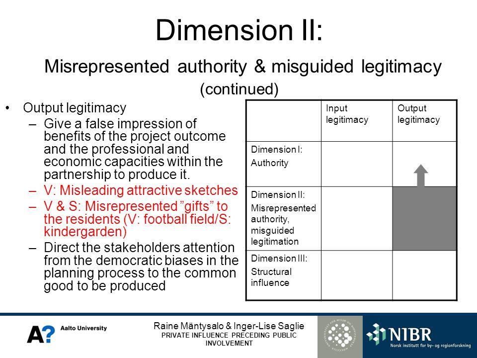 Raine Mäntysalo & Inger-Lise Saglie PRIVATE INFLUENCE PRECEDING PUBLIC INVOLVEMENT Dimension II: Misrepresented authority & misguided legitimacy (cont