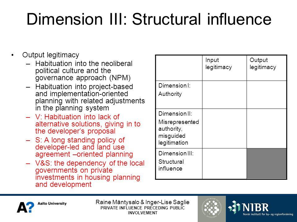Raine Mäntysalo & Inger-Lise Saglie PRIVATE INFLUENCE PRECEDING PUBLIC INVOLVEMENT Dimension III: Structural influence Output legitimacy –Habituation