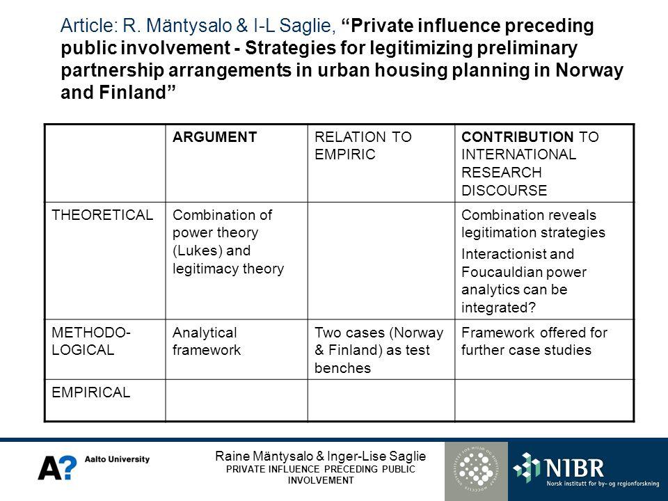 Raine Mäntysalo & Inger-Lise Saglie PRIVATE INFLUENCE PRECEDING PUBLIC INVOLVEMENT Article: R. Mäntysalo & I-L Saglie, Private influence preceding pub