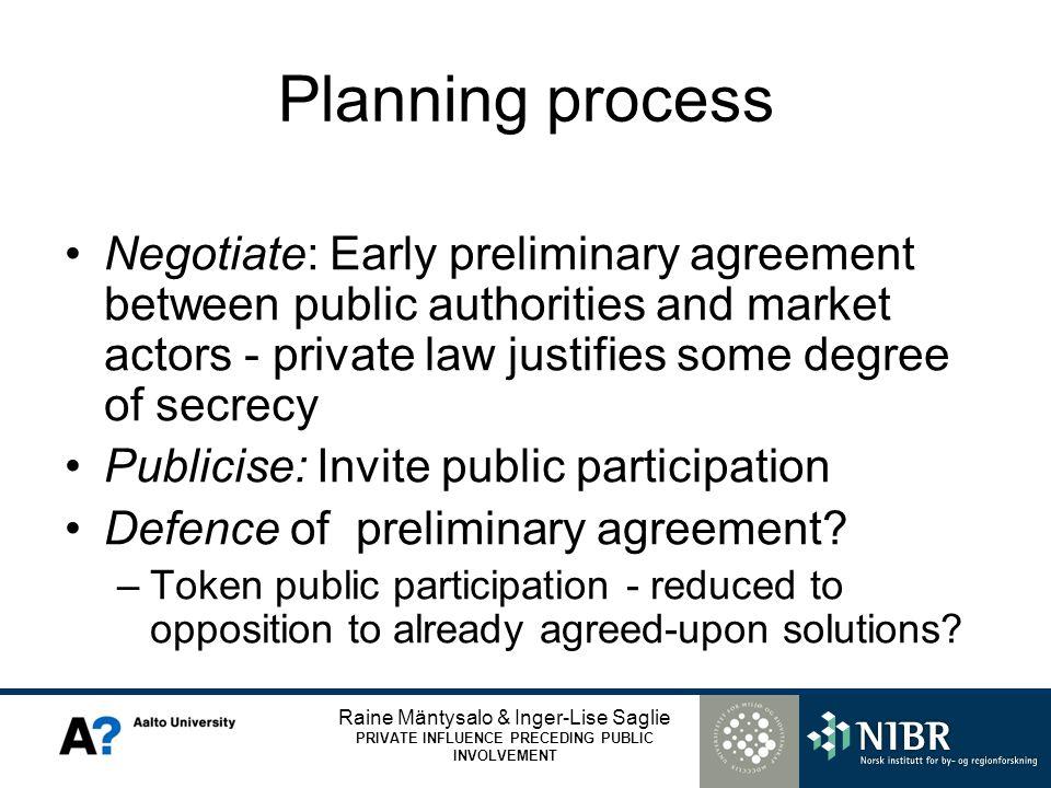 Raine Mäntysalo & Inger-Lise Saglie PRIVATE INFLUENCE PRECEDING PUBLIC INVOLVEMENT Planning process Negotiate: Early preliminary agreement between pub