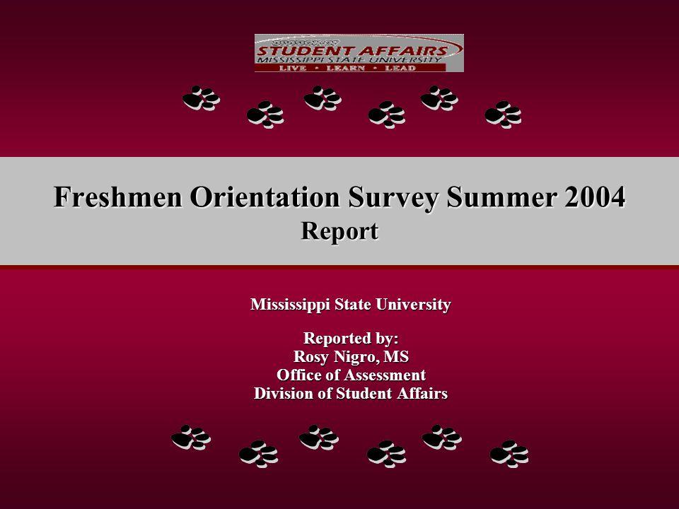 MSU Freshmen Orientation Survey 2004 Thank you for Your Attention.