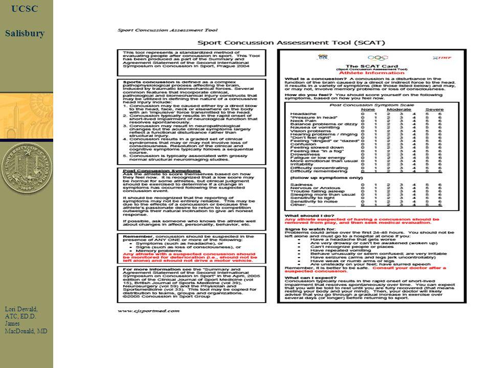 Page 21 UCSC Lori Dewald, ATC, ED.D. James MacDonald, MD Salisbury Concussion--Symptoms Headache, nausea., vomiting Dizziness. Blurry Vision. Light, s