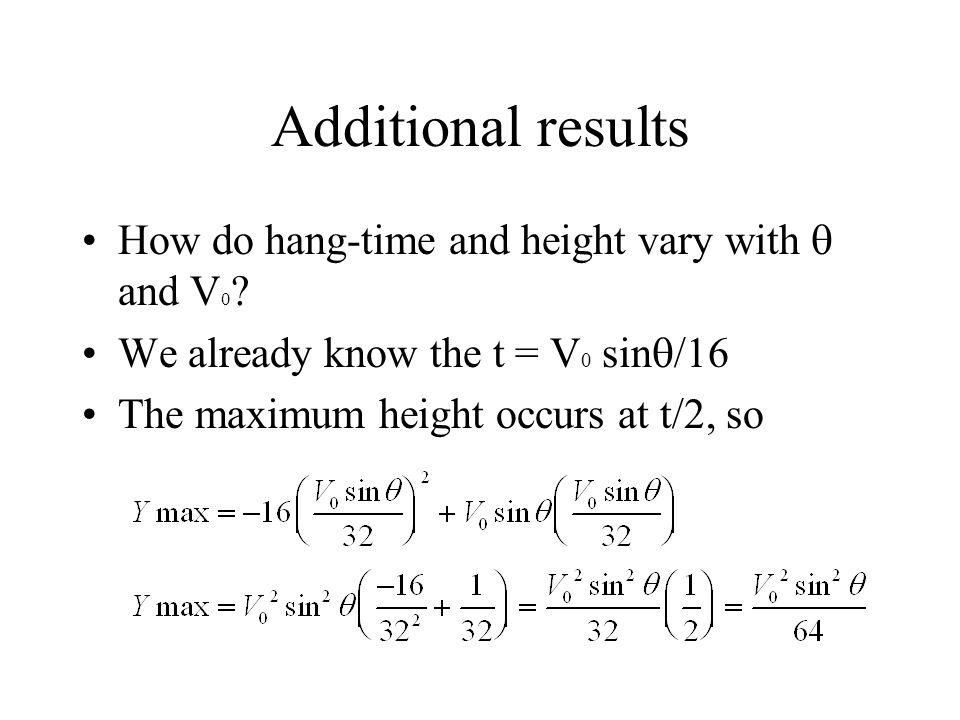 Additional results How do hang-time and height vary with and V 0 .