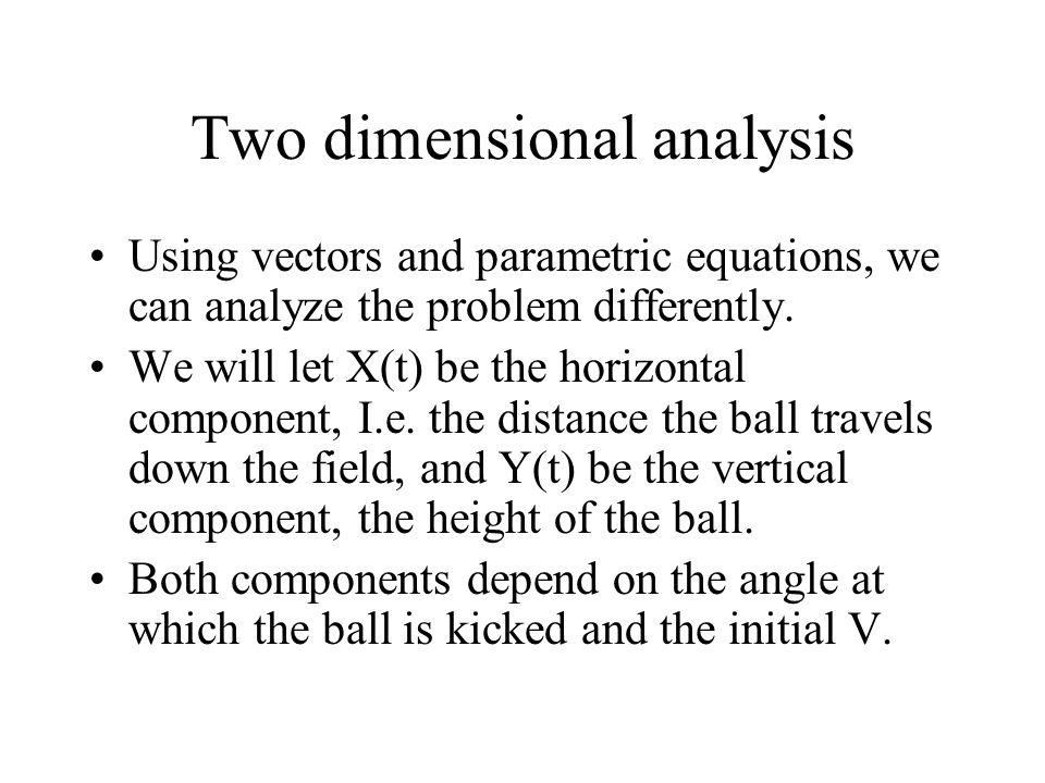 Two dimensional analysis Using vectors and parametric equations, we can analyze the problem differently.