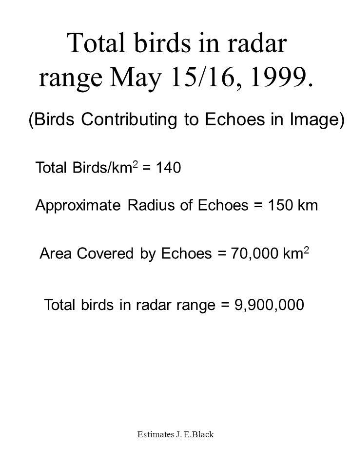 Estimates J. E.Black Total birds in radar range May 15/16, 1999.