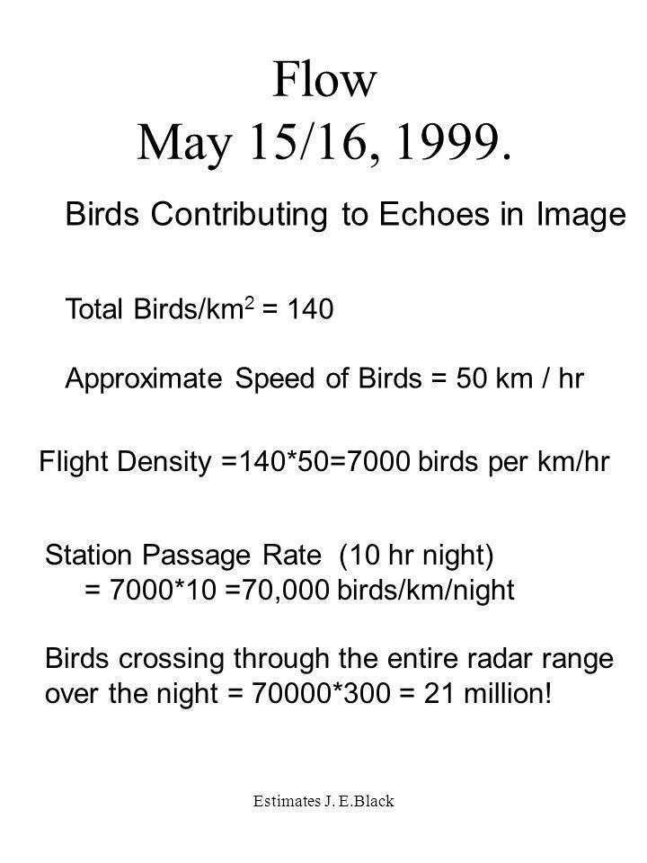 Estimates J. E.Black Flow May 15/16, 1999.