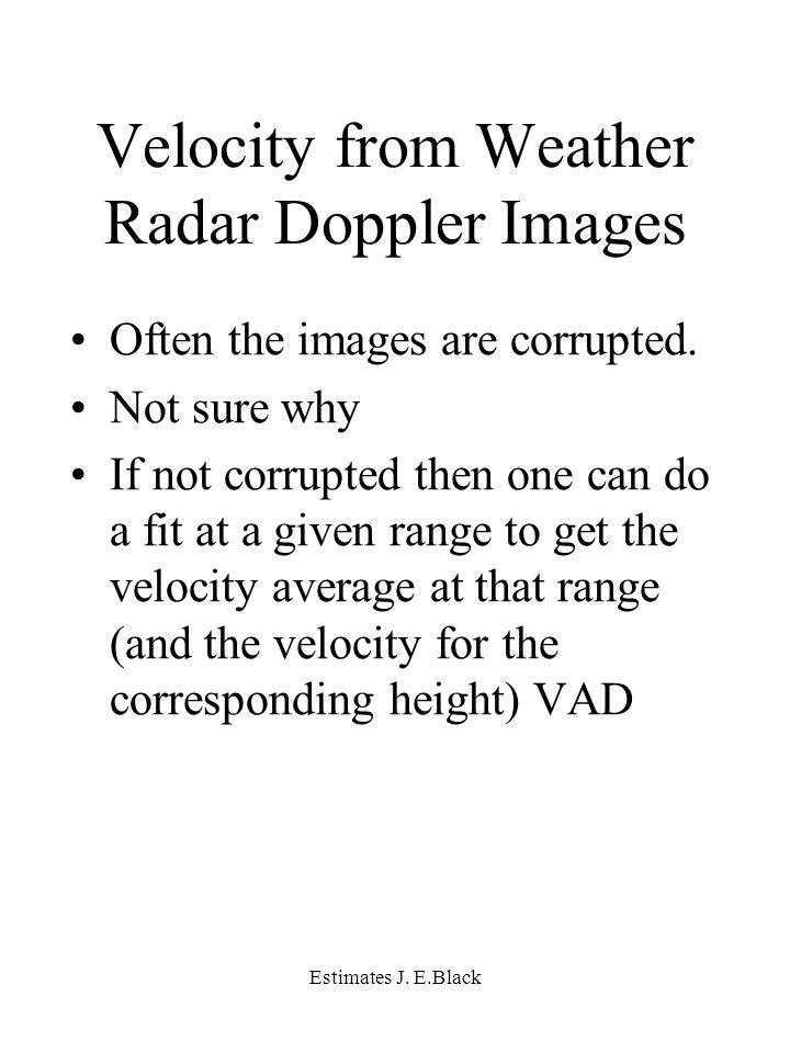 Estimates J. E.Black Velocity from Weather Radar Doppler Images Often the images are corrupted.