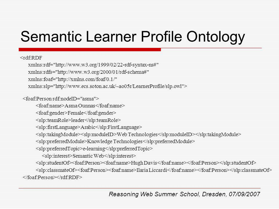 Semantic Learner Profile Ontology <rdf:RDF xmlns:rdf=