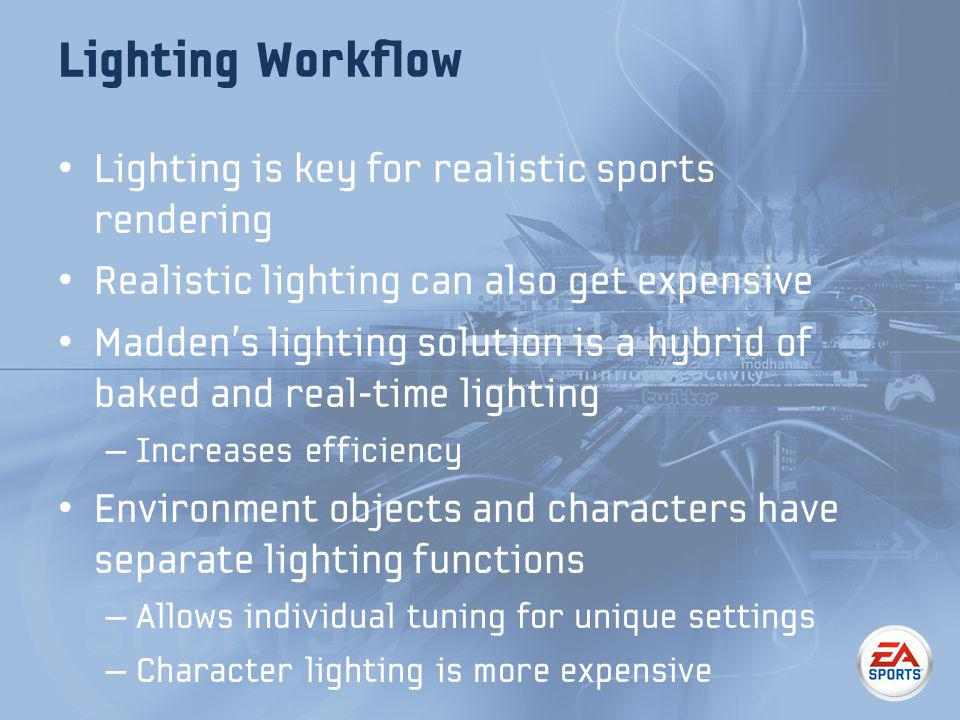Lighting is key for realistic sports rendering Realistic lighting can also get expensive Maddens lighting solution is a hybrid of baked and real-time lighting – Increases efficiency Environment objects and characters have separate lighting functions – Allows individual tuning for unique settings – Character lighting is more expensive