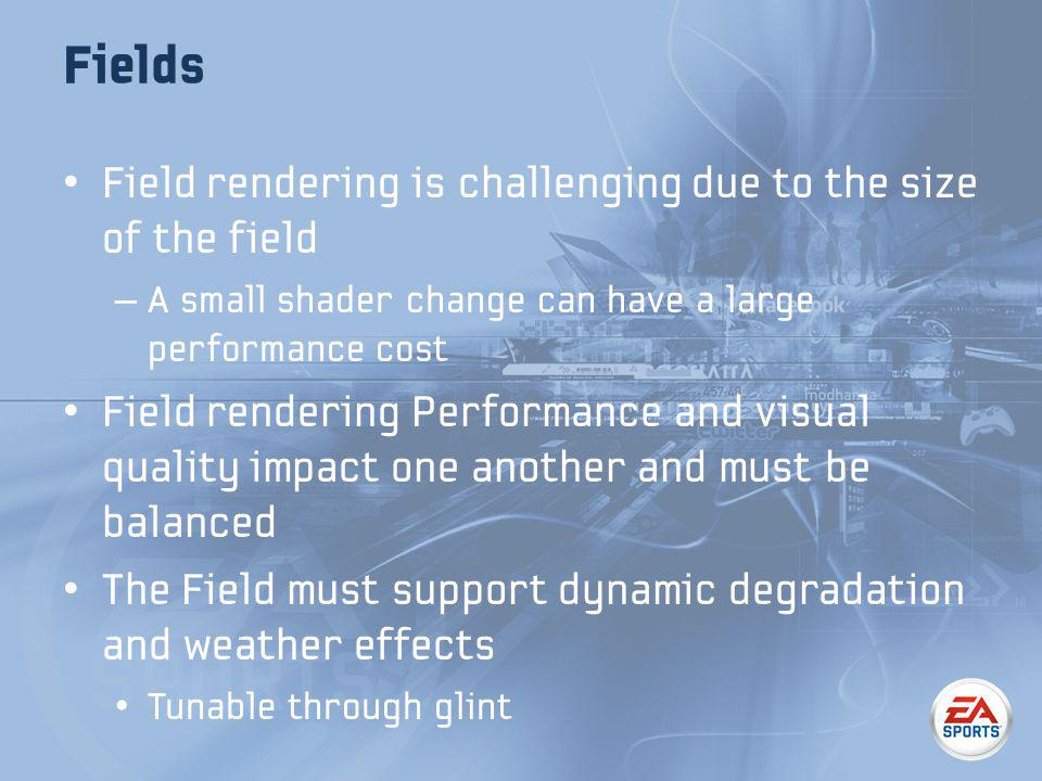 Fields Field rendering is challenging due to the size of the field – A small shader change can have a large performance cost Field rendering Performance and visual quality impact one another and must be balanced The Field must support dynamic degradation and weather effects Tunable through glint