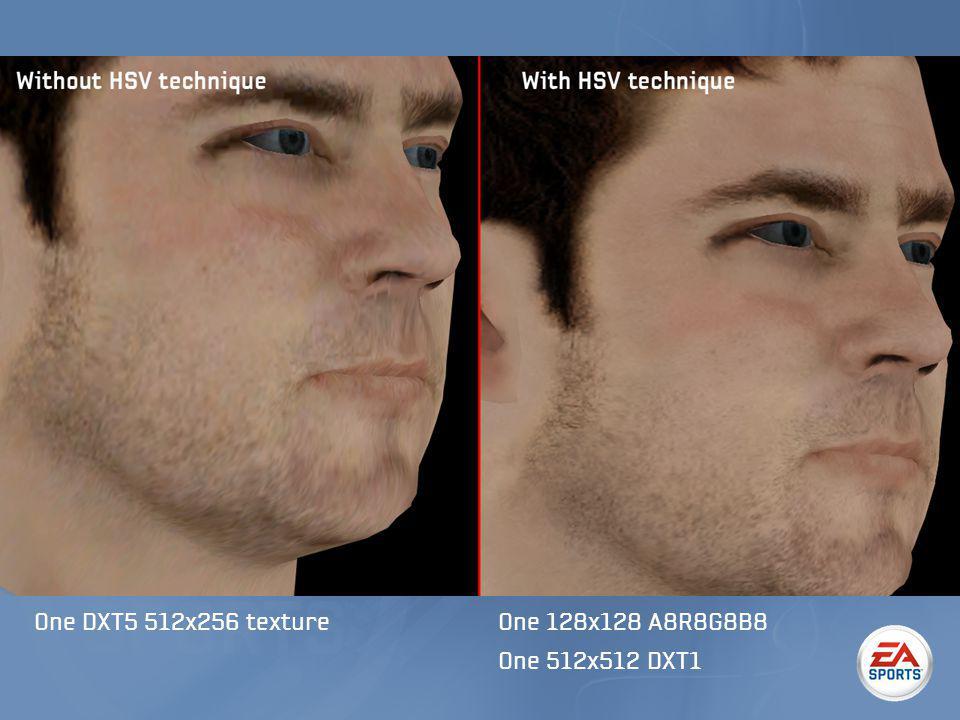 One DXT5 512x256 textureOne 128x128 A8R8G8B8 One 512x512 DXT1
