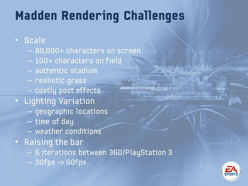 Madden Rendering Challenges Scale – 60,000+ characters on screen – 100+ characters on field – authentic stadium – realistic grass – costly post effects Lighting Variation – geographic locations – time of day – weather conditions Raising the bar – 6 iterations between 360/PlayStation 3 – 30fps -> 60fps