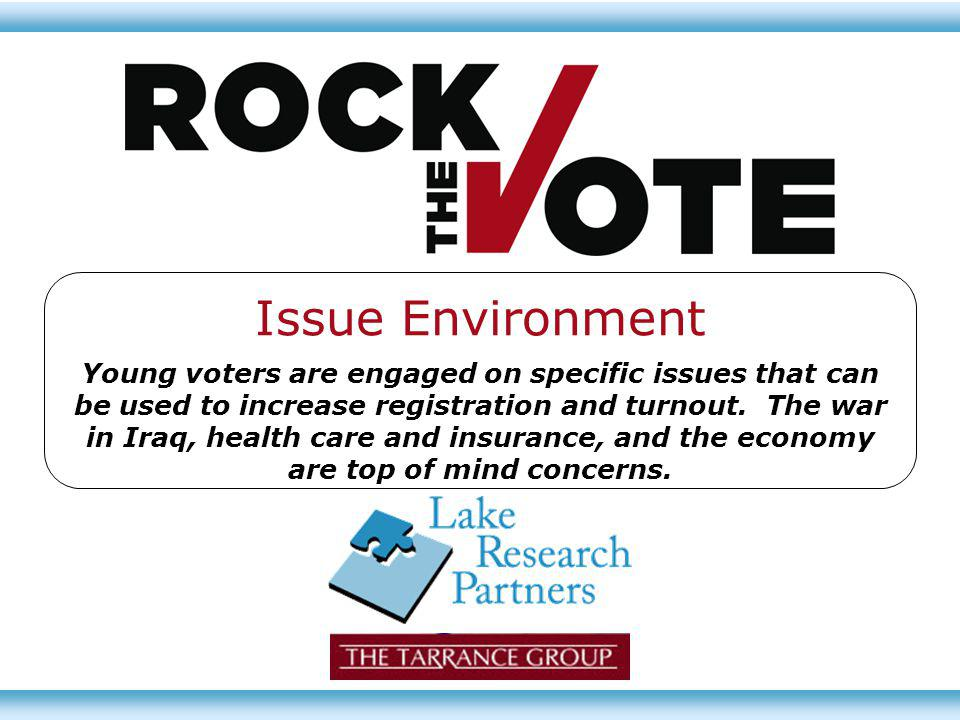 Issue Environment Young voters are engaged on specific issues that can be used to increase registration and turnout. The war in Iraq, health care and