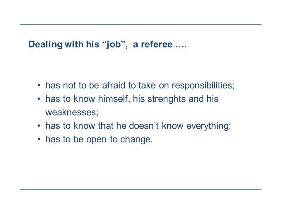 Dealing with his job, a referee ….