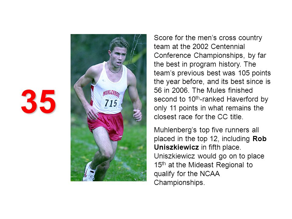 35 Score for the mens cross country team at the 2002 Centennial Conference Championships, by far the best in program history.