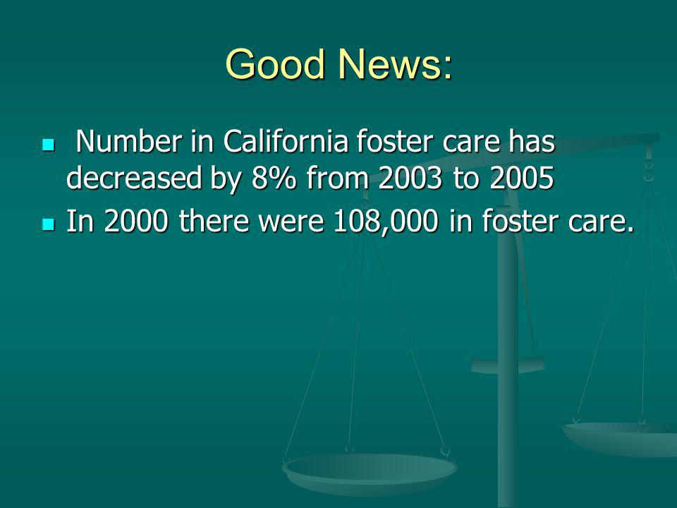 Good News: Number in California foster care has decreased by 8% from 2003 to 2005 Number in California foster care has decreased by 8% from 2003 to 2005 In 2000 there were 108,000 in foster care.