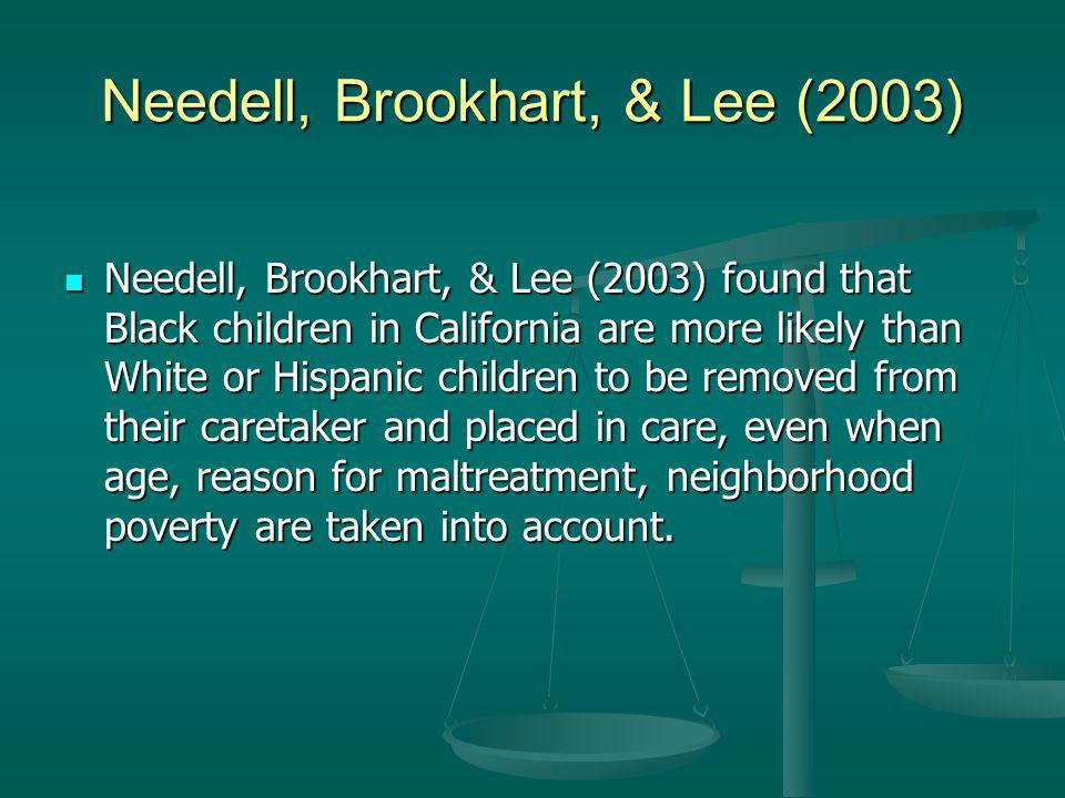 Needell, Brookhart, & Lee (2003) Needell, Brookhart, & Lee (2003) found that Black children in California are more likely than White or Hispanic children to be removed from their caretaker and placed in care, even when age, reason for maltreatment, neighborhood poverty are taken into account.
