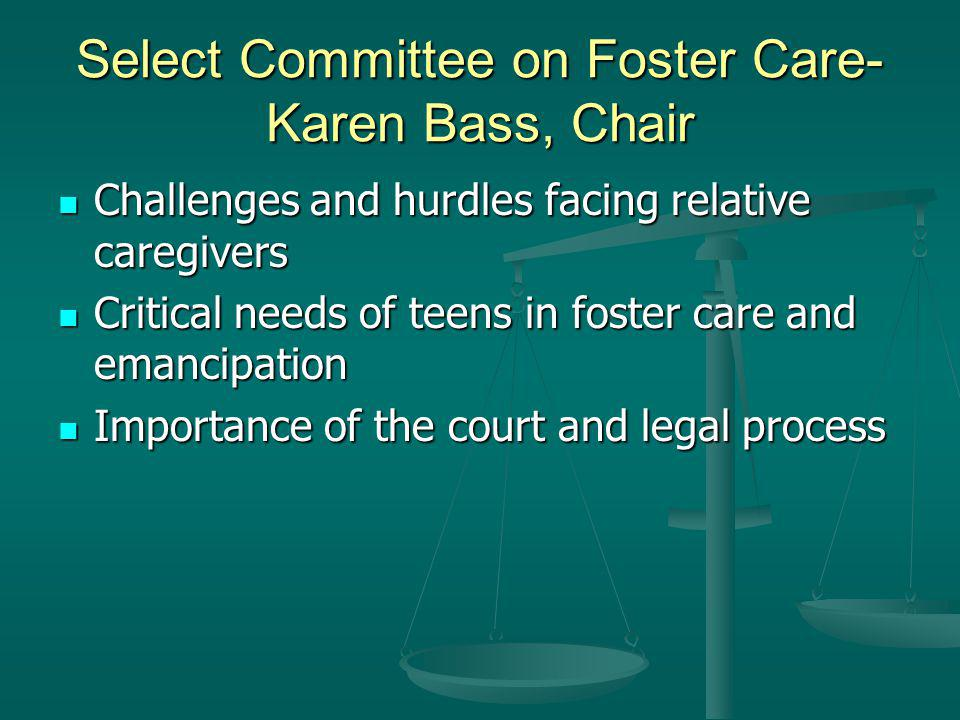 Select Committee on Foster Care- Karen Bass, Chair Challenges and hurdles facing relative caregivers Challenges and hurdles facing relative caregivers Critical needs of teens in foster care and emancipation Critical needs of teens in foster care and emancipation Importance of the court and legal process Importance of the court and legal process