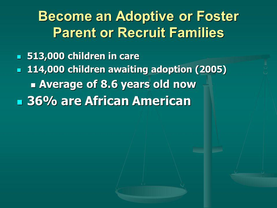 Become an Adoptive or Foster Parent or Recruit Families 513,000 children in care 513,000 children in care 114,000 children awaiting adoption (2005) 114,000 children awaiting adoption (2005) Average of 8.6 years old now Average of 8.6 years old now 36% are African American 36% are African American