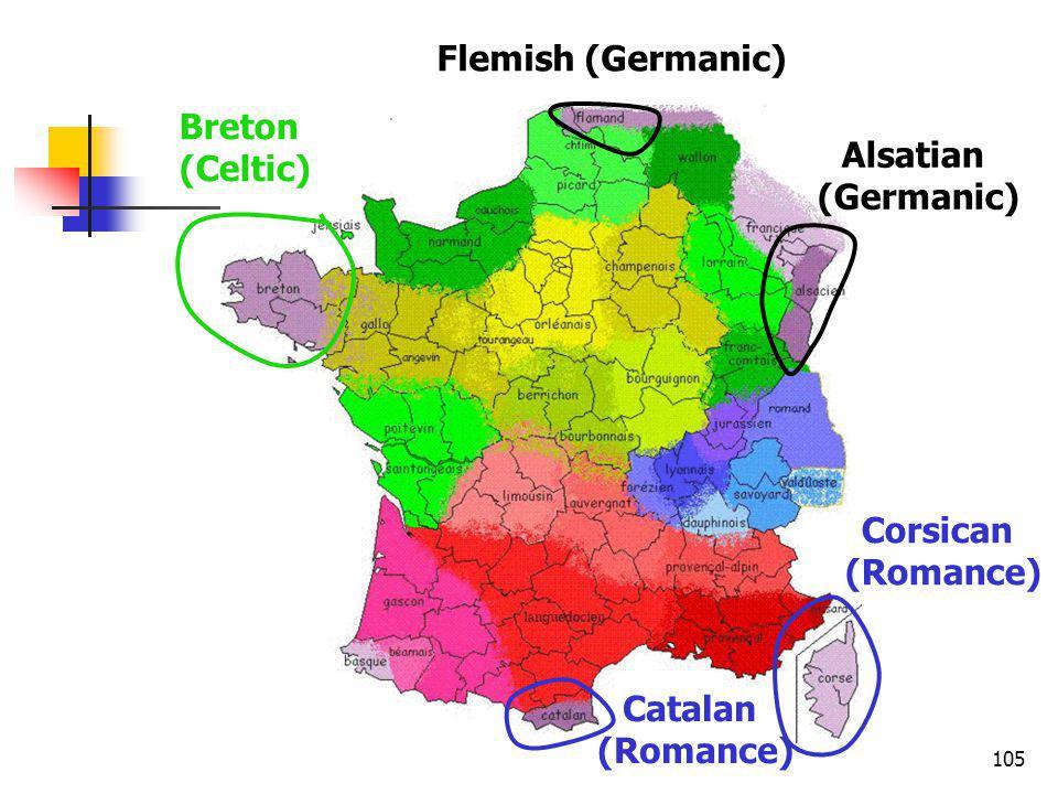 105 Breton (Celtic) Flemish (Germanic) Alsatian (Germanic) Corsican (Romance) Catalan (Romance)