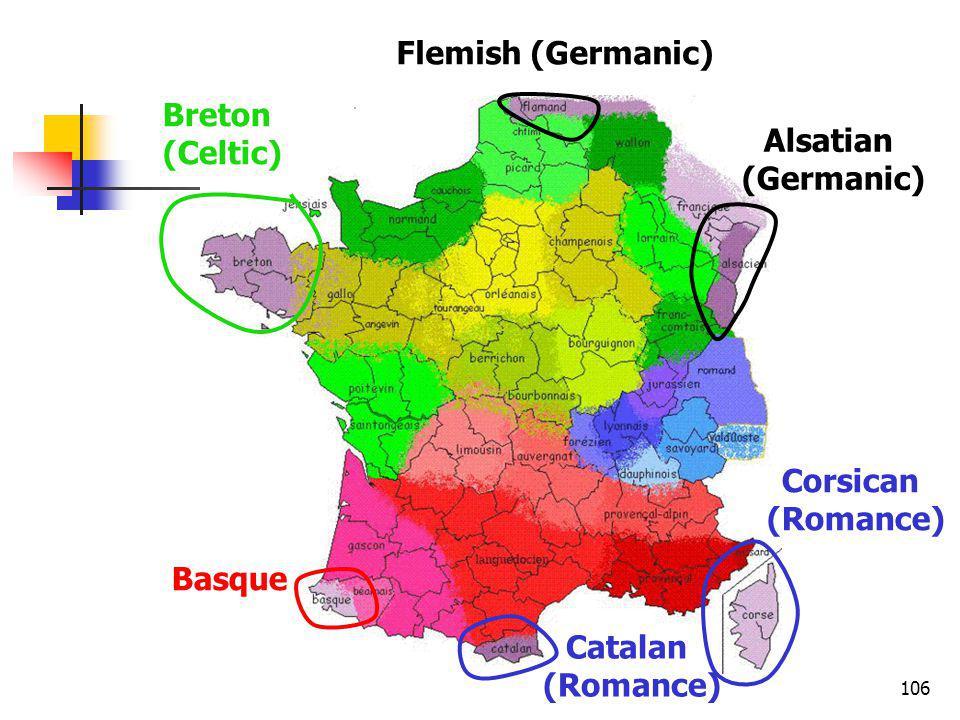 106 Breton (Celtic) Flemish (Germanic) Alsatian (Germanic) Corsican (Romance) Catalan (Romance) Basque
