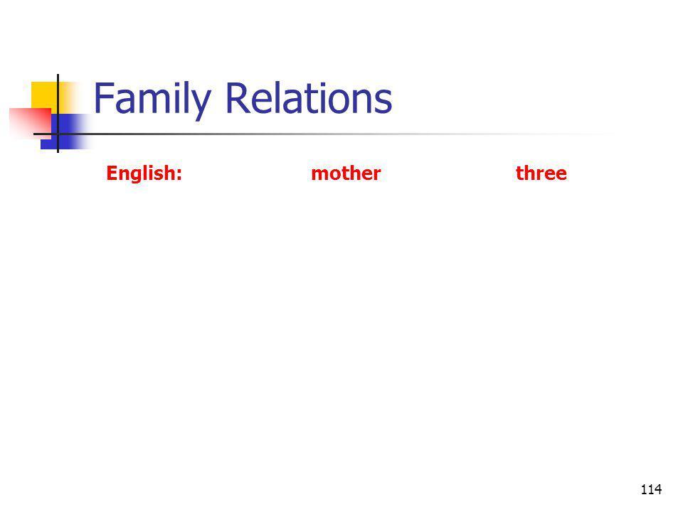 114 Family Relations English:motherthree