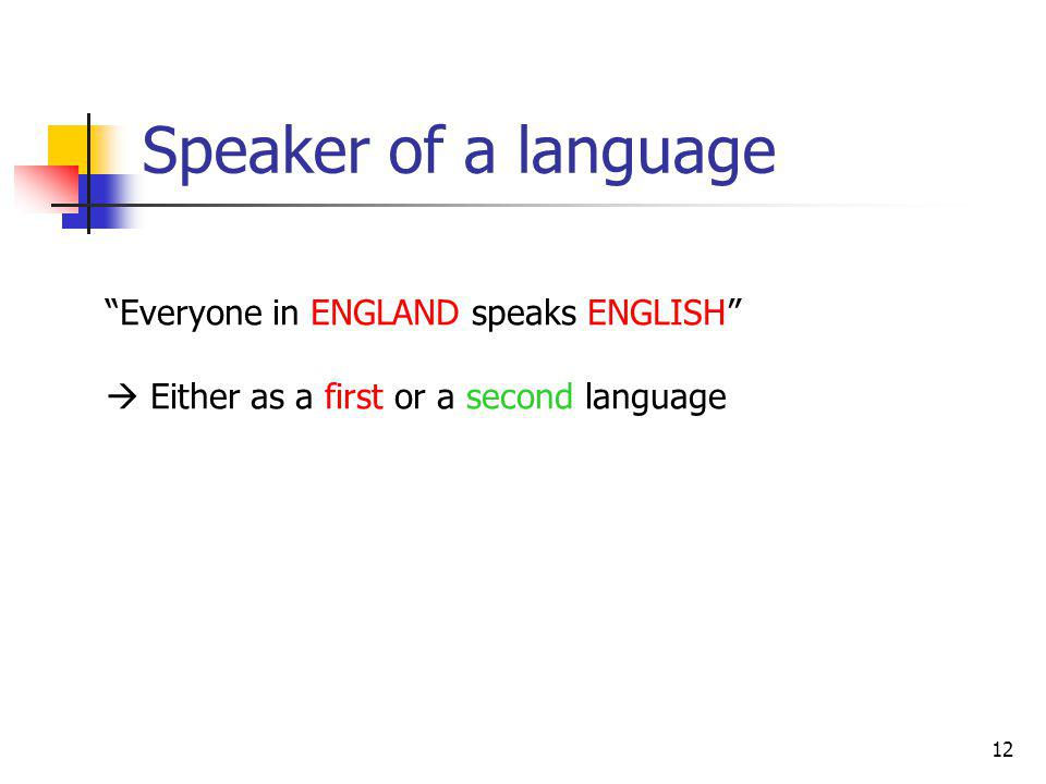 12 Speaker of a language Everyone in ENGLAND speaks ENGLISH Either as a first or a second language