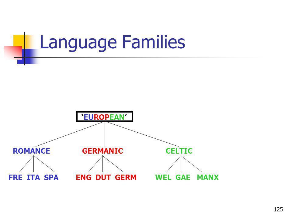 125 Language Families ROMANCE GERMANIC CELTIC FRE ITA SPA ENG DUT GERM WEL GAE MANX EUROPEAN