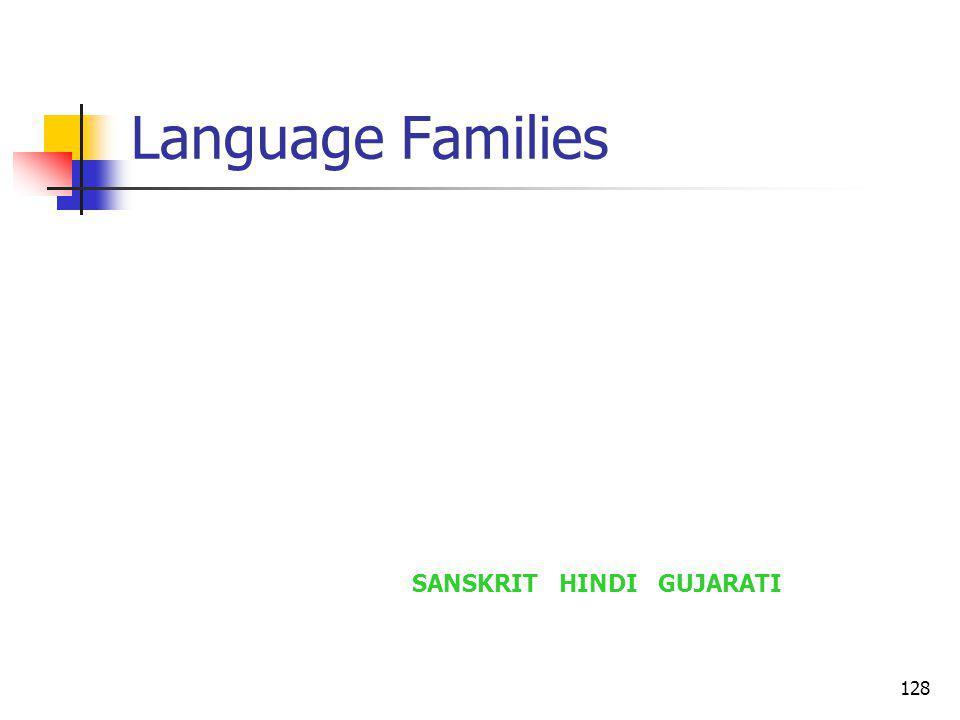 128 Language Families SANSKRIT HINDI GUJARATI