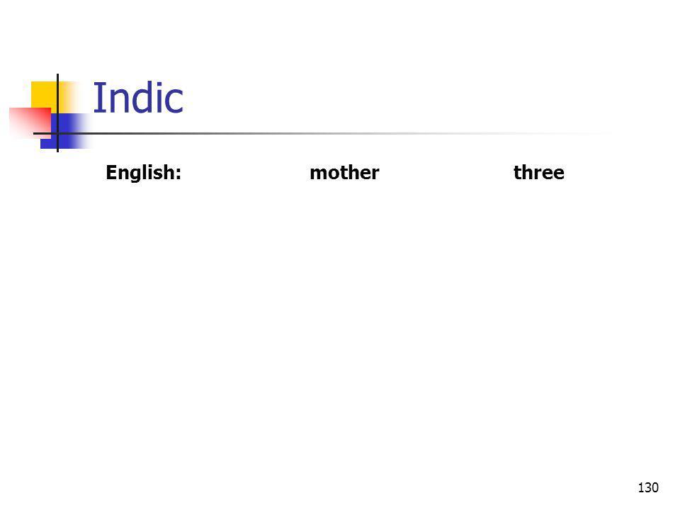 130 Indic English:motherthree