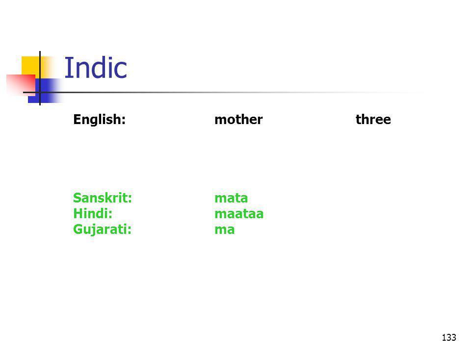 133 Indic English:motherthree Sanskrit:mata Hindi:maataa Gujarati:ma