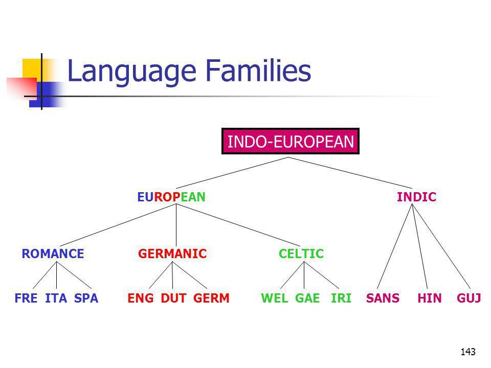 143 Language Families ROMANCE GERMANIC CELTIC FRE ITA SPA ENG DUT GERM WEL GAE IRI SANS HIN GUJ EUROPEAN INDIC INDO-EUROPEAN