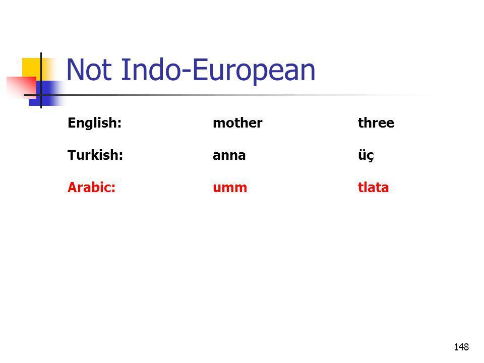 148 Not Indo-European English:motherthree Turkish:annaüç Arabic:ummtlata