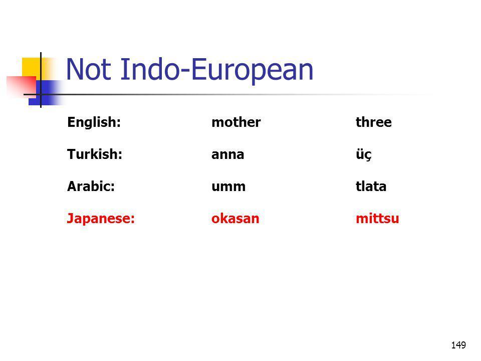 149 Not Indo-European English:motherthree Turkish:annaüç Arabic:ummtlata Japanese:okasanmittsu