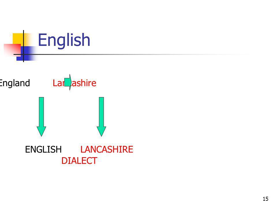 15 English EnglandLancashire ENGLISHLANCASHIRE DIALECT