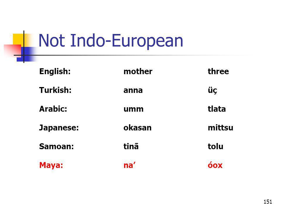 151 Not Indo-European English:motherthree Turkish:annaüç Arabic:ummtlata Japanese:okasanmittsu Samoan:tinātolu Maya:naóox