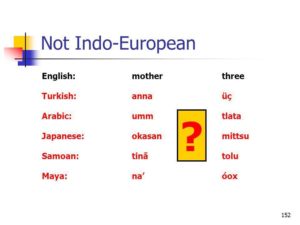 152 Not Indo-European English:motherthree Turkish:annaüç Arabic:ummtlata Japanese:okasanmittsu Samoan:tinātolu Maya:naóox ?