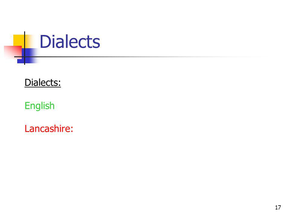 17 Dialects Dialects: English Lancashire: