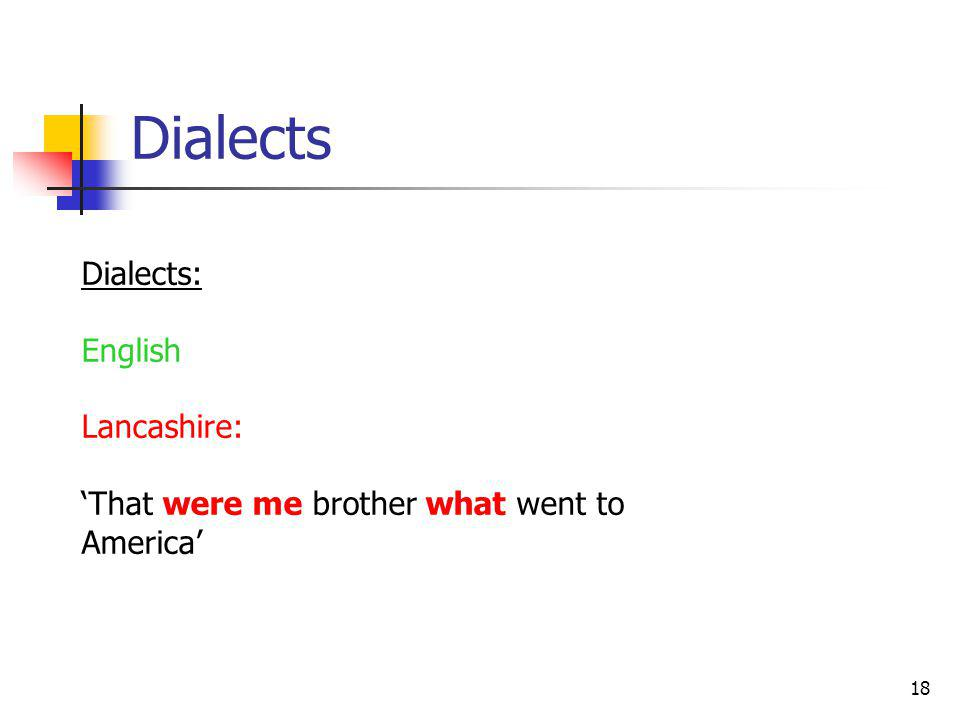 18 Dialects Dialects: English Lancashire: That were me brother what went to America