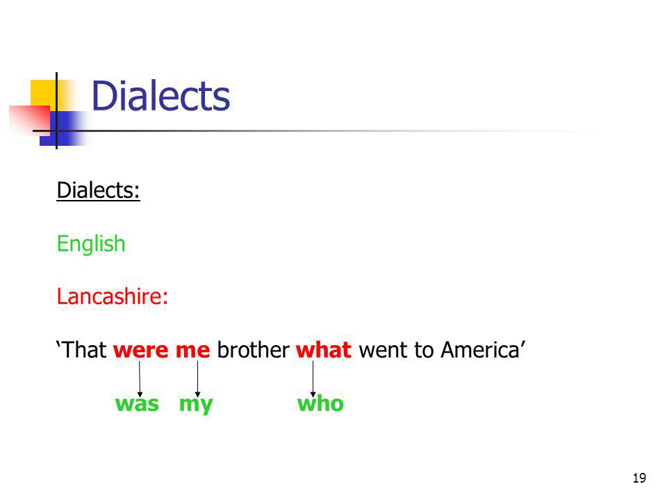 19 Dialects Dialects: English Lancashire: That were me brother what went to America was my who