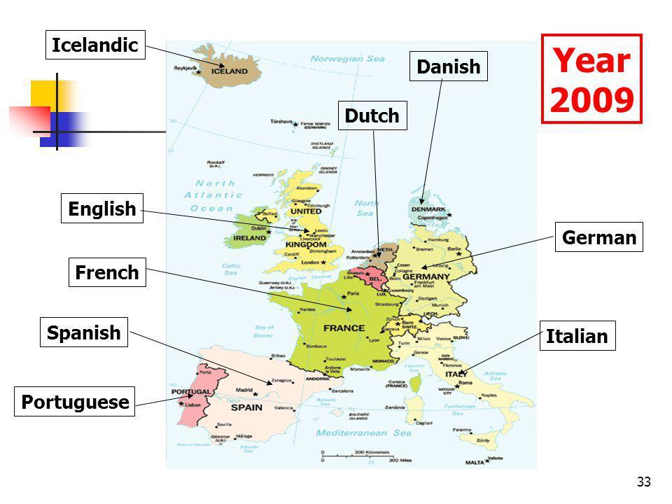 33 English Spanish Portuguese French Dutch Danish Icelandic German Italian Year 2009