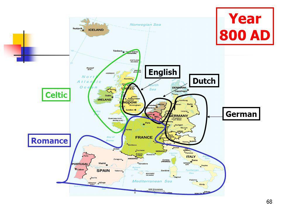 68 Year 800 AD German Celtic Romance Dutch English