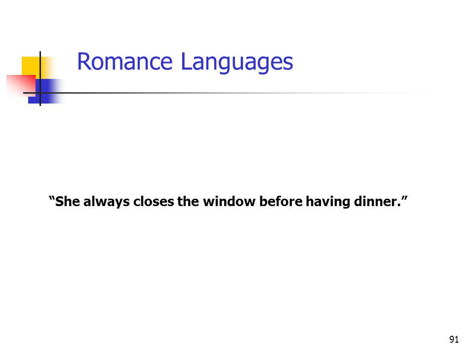 91 She always closes the window before having dinner. Romance Languages