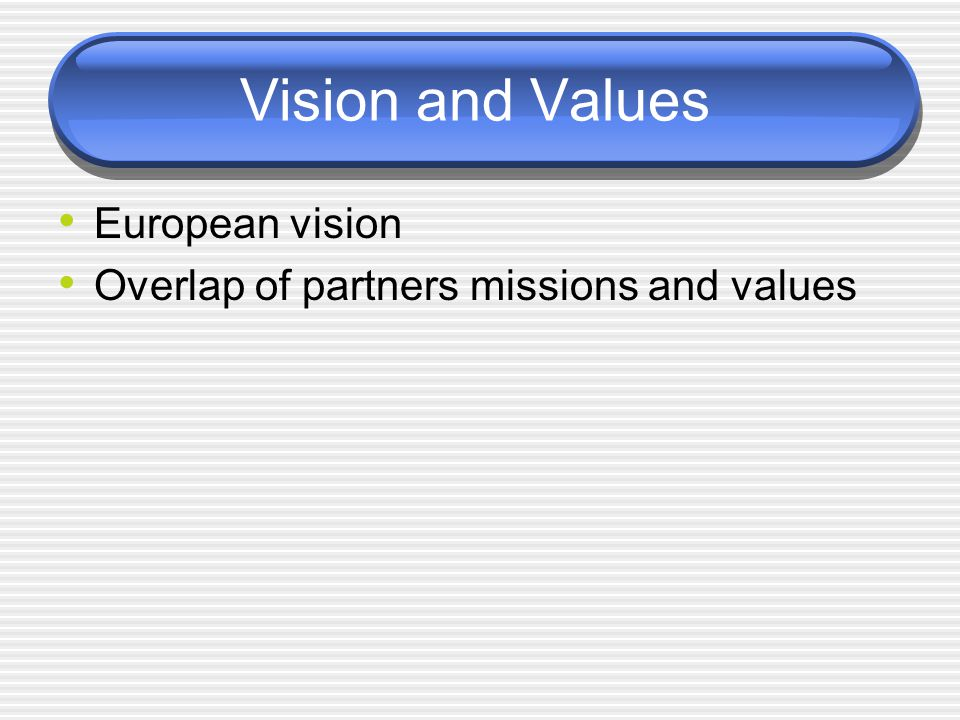 Vision and Values European vision Overlap of partners missions and values