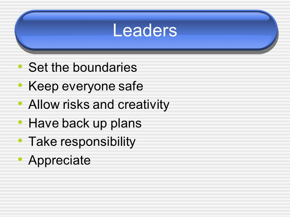 Leaders Set the boundaries Keep everyone safe Allow risks and creativity Have back up plans Take responsibility Appreciate