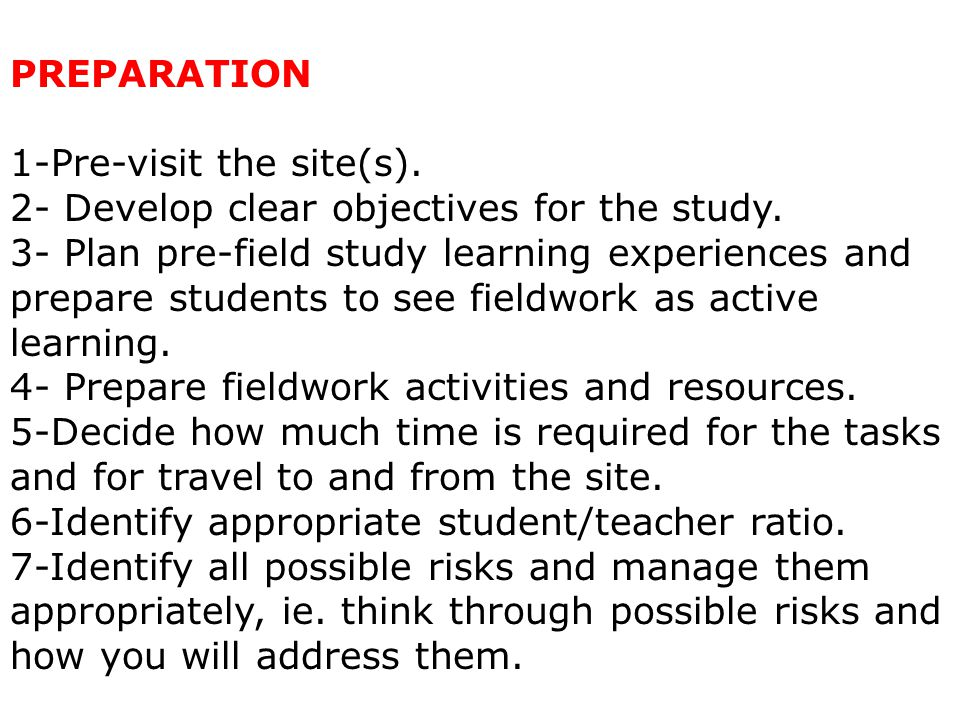 ACTIVITY 2: PLANNING FOR LEARNING OUTSIDE THE CLASSROOM.