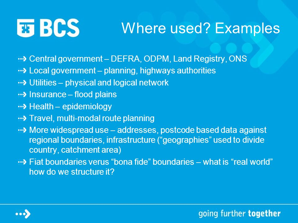 Where used? Examples Central government – DEFRA, ODPM, Land Registry, ONS Local government – planning, highways authorities Utilities – physical and l